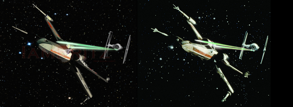 Xwing vs TIE a comparison- my duplicate to the original